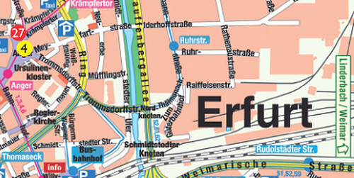 Stadtplan Erfurt / Anreise